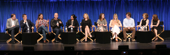 'American Horror Story' Cast Honored at PaleyFest [american horror story: asylum,event,performance,talent show,performing arts,stage,music,team,musical theatre,heater,competition,tim minear,sarah paulson,jessica lange,denise martin,lily rabe,dante di loreto,l-r,paley center for media,paleyfest 2013]