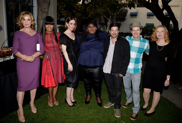 """FYC Screening And Conversation With Fox's """"American Horror Story: Coven"""" [american horror story: coven,people,social group,event,purple,fashion,photography,ceremony,formal wear,family,party,james s. levine,actors,actors,gabourey sidebe,angela bassett,sarah paulson,l-r,fyc screening and conversation with fox,screening]"""