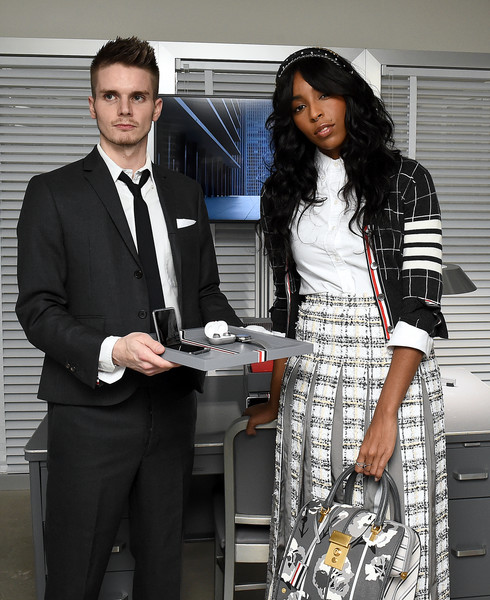 Samsung x Thom Browne - Galaxy Z Flip Thom Browne Edition Unveil Event [suit,white-collar worker,formal wear,fashion,fashion design,event,employment,style,tuxedo,thom browne,jessica williams,flip thom browne edition unveil event,unveiling experience,galaxy z,new york city,samsung,samsung galaxy,sothebys,event,jessica williams,wyatt cenac,fantastic beasts: the crimes of grindelwald,livingly media,photograph,image,new york,actor]