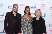 (L-R) Marco Perego, Zoe Saldana-Perego and Dr. Leslie Mancuso arrive at Jhpiego's Los Angeles Gala - Laughter Is The Best Medicine on April 29, 2019 in Beverly Hills, California.
