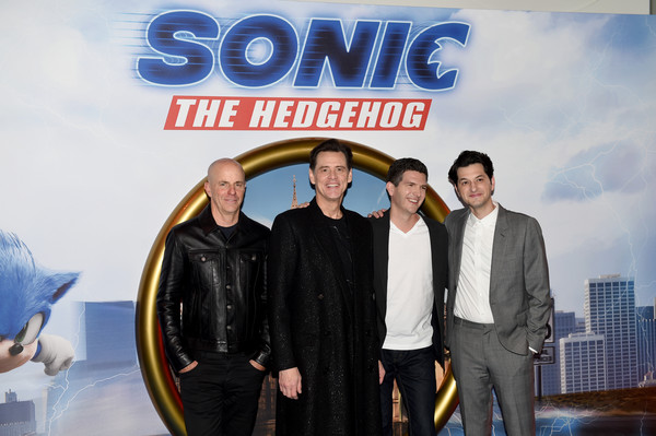 """Sonic The Hedgehog"" Gala Screening - Red Carpet Arrivals [sonic the hedgehog,premiere,font,event,suit,fictional character,company,team,brand,advertising,red carpet arrivals,ben schwartz,jeff fowler,jim carrey,neal h. moritz,vue westfield,england,london,gala screening,jim carrey,ben schwartz,neal h. moritz,sonic the hedgehog,london,premiere,stock photography,photograph,image]"