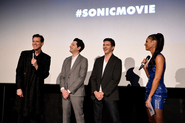 """Sonic the Hedgehog"" London Fan Screening [sonic the hedgehog,social group,event,fashion,design,white-collar worker,performance,company,team,brand,award,jeff fowler,ben schwartz,jim carrey,l-r,vick hope,london,united kingdom,vue westfield,london fan screening,ben schwartz,getty images,stock photography,sonic the hedgehog,image,photography,photograph]"