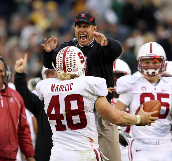 Jim Harbaugh and Owen Marecic - Stanford v Notre Dame
