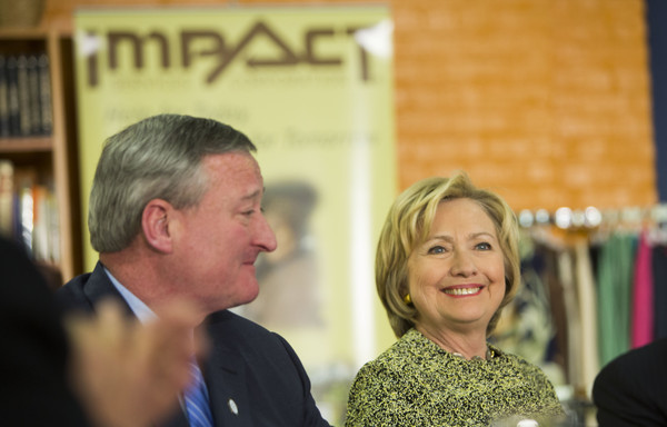 Hillary Clinton Attends Roundtable with Philadelphia Mayor Jim Kenney