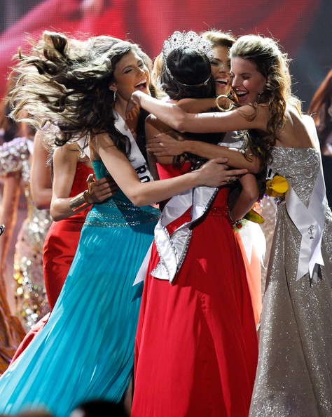 Jimena Navarrete Miss Mexico 2010, Jimena Navarrete (C), is hugged by fellow contestants including Miss Romania 2010, Oana Paveluc (L), and Miss Colombia 2010, Natalia Navarro (R), after Navarrete was named the 2010 Miss Universe during the 2010 Miss Universe Pageant at the Mandalay Bay Events Center August 23, 2010 in Las Vegas, Nevada.
