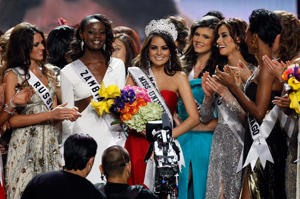 Jimena Navarrete Miss Mexico 2010, Jimena Navarrete (C), reacts with other contestants after being named the 2010 Miss Universe during the 2010 Miss Universe Pageant at the Mandalay Bay Events Center August 23, 2010 in Las Vegas, Nevada.