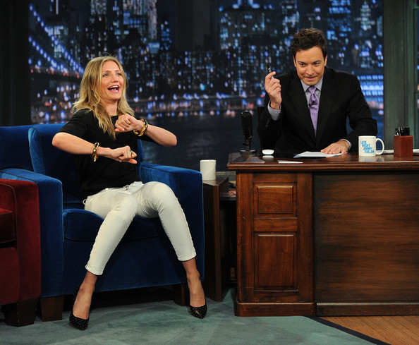 "Jimmy Fallon Actress Cameron Diaz and host Jimmy Fallon visit ""Late Night With Jimmy Fallon"" at Rockefeller Center on June 21, 2011 in New York City."