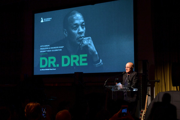 62nd Annual GRAMMY Awards - Producers & Engineers Wing 13th Annual GRAMMY Week Event Honoring Dre. Dre [projection screen,convention,presentation,display device,event,design,technology,adaptation,electronic device,academic conference,dre,jimmy iovine,grammy,california,los angeles,producers engineers wing,village studios,annual grammy awards - producers engineers wing 13th annual grammy week event,event,jimmy iovine,dr. dre,grammy awards,film producer,record producer,actor,photograph,celebrity,interscope records,artist]