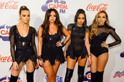 (L-R) Perrie Edwards, Jesy Nelson, Leigh-Anne Pinnock and Jade Thirlwall from Little Mix attend the Jingle Bell Ball at The O2 Arena on December 6, 2015 in London, England.