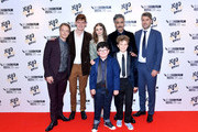 """(L-R back row) Alfie Allen, Sam Haygarth,  Thomasin McKenzie, Taika Waititi, Carthew Neal and (front) Archie Yates and Roman Griffin Davis attend the """"JoJo Rabbit"""" European Premiere during the 63rd BFI London Film Festival at Odeon Luxe Leicester Square on October 05, 2019 in London, England."""