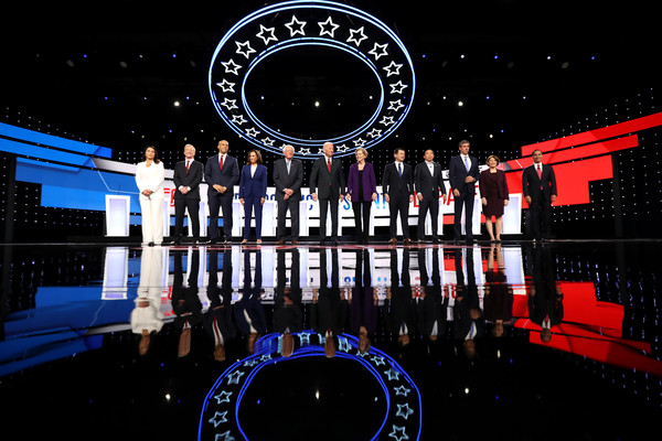 Democratic Presidential Candidates Participate In Fourth Debate In Ohio [stage,architecture,space,night,sport venue,games,performance,tulsi gabbard,candidates,tom steyer,cory booker,joe biden,elizabeth warren,kamala harris,debate,ohio,democratic]