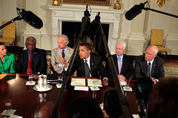 John McCain, Barack Obama, Patrick Leahy, Joe Biden, James Clyburn, Nydia Velazquez - Obama And Biden Meet With Members Of Congress On Immigration