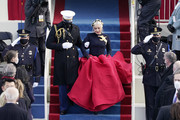 Lady Gaga arrives to sing the National Anthem during the the 59th inaugural ceremony on the West Front of the U.S. Capitol on January 20, 2021 in Washington, DC.  During today's inauguration ceremony Joe Biden becomes the 46th president of the United States.