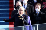 Lady Gaga sings the National Anthem during the inauguration of U.S. President-elect Joe Biden on the West Front of the U.S. Capitol on January 20, 2021 in Washington, DC.  During today's inauguration ceremony Joe Biden becomes the 46th president of the United States.