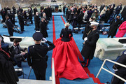 "Singer Lady Gaga arrives to perform ""The Star-Spangled Banner"" during the inauguration of U.S. President-elect Joe Biden on the West Front of the U.S. Capitol on January 20, 2021 in Washington, DC.  During today's inauguration ceremony Joe Biden becomes the 46th president of the United States."