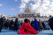 U.S. President-elect Joe Biden (Center L) and Vice President-elect Kamala Harris (Center R) speak to Lady Gaga as she departs after singing the national anthem as Vice President Mike Pence (R) looks on on the West Front of the U.S. Capitol on January 20, 2021 in Washington, DC. During today's inauguration ceremony Joe Biden becomes the 46th president of the United States.