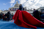 U.S. President-elect Joe Biden (L) and Vice President Mike Pence (R) watch as Lady Gaga steps off the stage after singing the national anthem on the West Front of the U.S. Capitol on January 20, 2021 in Washington, DC. During today's inauguration ceremony Joe Biden becomes the 46th president of the United States.