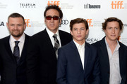 """(L-R)   Producer Christopher Woodrow, actors Nicolas Cage, Tye Sheridan and director David Gordon Green arrive at the """"Joe"""" Premiere during the 2013 Toronto International Film Festival at Princess of Wales Theatre on September 9, 2013 in Toronto, Canada."""