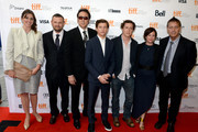 """(L-R)  Executive producer Molly Conners, producer Christopher Woodrow, actors Nicolas Cage, Tye Sheridan, director David Gordon Green, producer Lisa Muskat  and screenwriter Gary Hawkins arrive at the """"Joe"""" Premiere during the 2013 Toronto International Film Festival at Princess of Wales Theatre on September 9, 2013 in Toronto, Canada."""