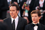 Actors Nicolas Cage and Tye Sheridan attend the 'Joe' Premiere during The 70th Venice International Film Festival at Palazzo Del Cinema on August 30, 2013 in Venice, Italy.