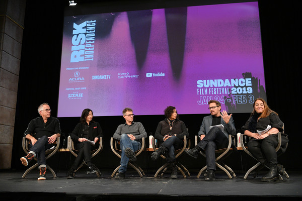2019 Sundance Film Festival - Day One Press Conference [event,stage,performance,convention,talent show,performing arts,performance art,team,day one,john copper,shari frilot,david courier,john nein,kim yutanit,caroline libresco,l-r,press conference,sundance film festival]