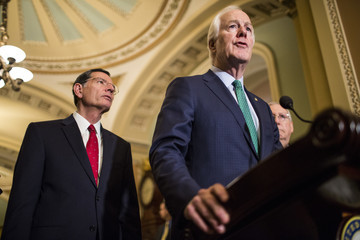 John Cornyn Senate Lawmakers Address The Media After Weekly Policy Luncheons