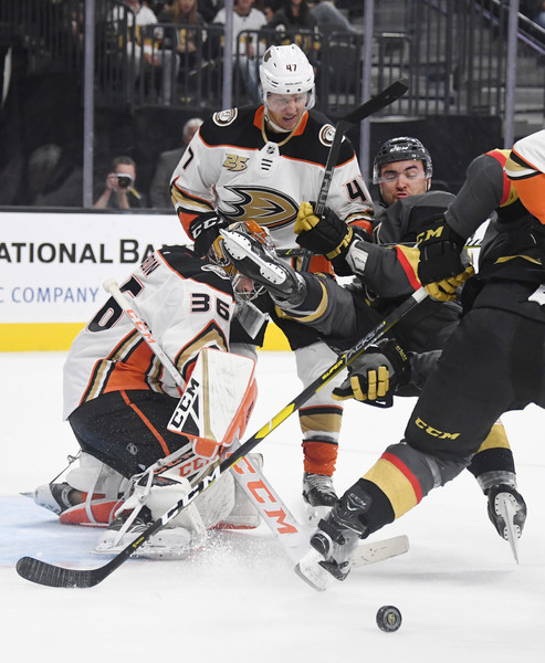 Anaheim Ducks v Vegas Golden Knights [college ice hockey,ice hockey,ice hockey position,sports gear,ice hockey equipment,hockey protective equipment,hockey pants,hockey,ice rink,player,william carrier,john gibson 36,hampus lindholm,ice,t-mobile arena,las vegas,nevada,golden knights,anaheim ducks,game]