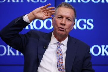 John Kasich Governors Hickenlooper (R-CO) And Kasich (R-OH) Speak At The Brookings Institution In Washington, D.C.