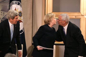 John Kerry Hillary Clinton Attends State Department Ceremony Naming Section of Building After Her