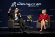 Commonwealth Club of California president and CEO Gloria Duffy (R) looks on as former U.S. Secretary of State John Kerry speaks during a Commonwealth Club of California event at the Marines' Memorial Theatre on September 13, 2018 in San Francisco, California. John Kerry spoke in conversation with Commonwealth Club of California president and CEO Gloria Duffy.