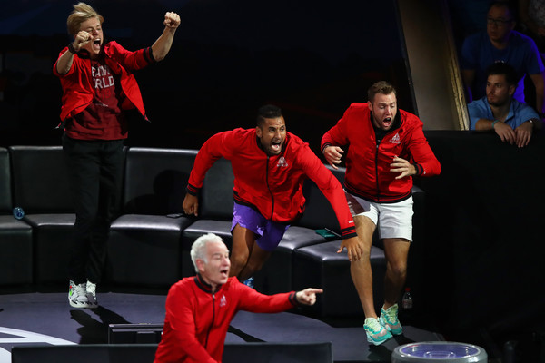 Laver Cup 2019 - Day 3 [performance,performing arts,event,heater,balance,drama,acting,talent show,performance art,players,dominic thiem,rest,team europe,palexpo,switzerland,team world,taylor fritz of team world,laver cup,singles match]
