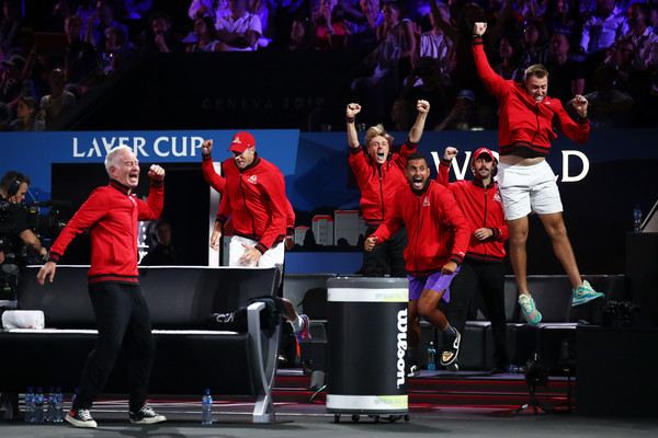 Laver Cup 2019 - Day 3 [performance,event,performing arts,sports,competition,stage equipment,competition event,performance art,players,dominic thiem,match point,rest,team europe,palexpo,team world,taylor fritz of team world,laver cup,singles match]