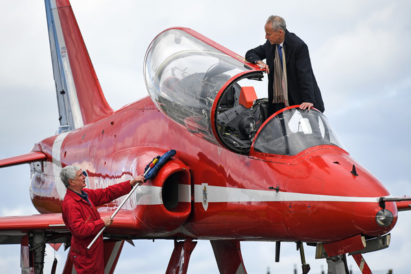 Red Arrows Hawk Aircraft Goes On Display At The National Museum Of Flight