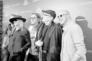 Image has been shot in black and white. Color version not available.) (L-R) Recording artists Daxx Nielsen, Robin Zander, Tom Petersson and Rick Nielsen of music group Cheap Trick and fashion designer John Varvatos attend the John Varvatos 13th Annual Stuart House benefit presented by Chrysler with Kids' Tent by Hasbro Studios at John Varvatos Boutique on April 17, 2016 in West Hollywood, California.