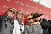 (L-R) Recording artists Daxx Nielsen, Tom Petersson, Michael Anthony, and Robin Zander attend the John Varvatos 13th Annual Stuart House benefit presented by Chrysler with Kids' Tent by Hasbro Studios at John Varvatos Boutique on April 17, 2016 in West Hollywood, California.