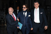 Johnny Depp is seen leaving the Royal Courts of Justice on February 26, 2020 in London, England. The Hollywood actor is suing The Sun newspaper over claims he beat up his ex-wife Amber Heard.