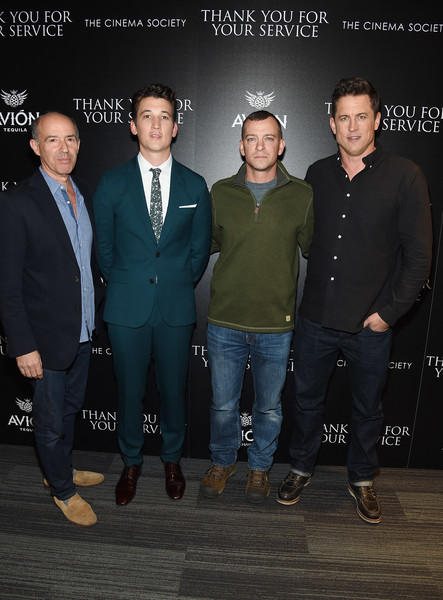 The Cinema Society Host a Screening of DreamWorks and Universal Pictures' 'Thank You for Your Service' [suit,event,formal wear,white-collar worker,jason hall,adam schumann,miles teller,jon kilik,thank you for your service,l-r,universal pictures,dreamworks,cinema society host a screening of dreamworks,screening]