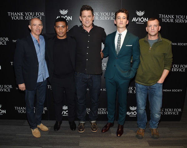 The Cinema Society Host a Screening of DreamWorks and Universal Pictures' 'Thank You for Your Service' [event,premiere,suit,miles teller,jason hall,adam schumann,jon kilik,thank you for your service,universal pictures,dreamworks,beulah koale,cinema society host a screening of dreamworks,screening]