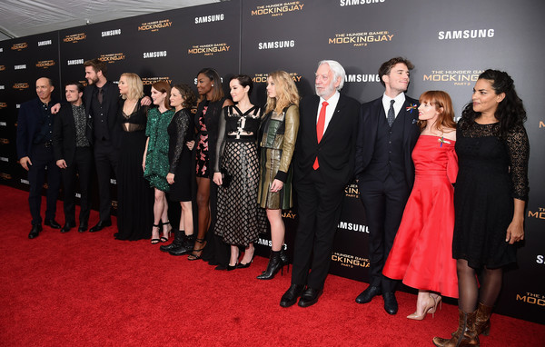 'The Hunger Games: Mockingjay- Part 2' New York Premiere [the hunger games: mockingjay- part 2,red carpet,carpet,premiere,event,flooring,fashion,dress,suit,little black dress,formal wear,josh hutcherson,jon kilik,natalie dormer,patina miller,nina jacobson,l-r,new york,theater,premiere]