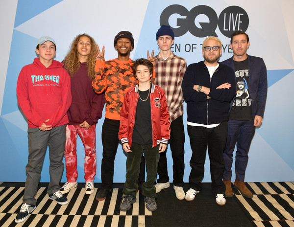 GQ Live - The World Of Jonah Hill With The Cast Of 'Mid90s' [social group,team,youth,community,event,technology,crew,leisure,gq live,cast,the world of jonah hill,gio galicia,jonah hill,lucas hedges,sunny suljic,na-kel smith,olan prenatt,zach baron]
