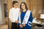 AMMAN, JORDAN- MAY 22: In this handout image provided by the Royal Hashemite Court,  Queen Rania of Jordan (L), during the graduation ceremony of Princess Salma (R) from the International Academy on May 22, 2018 at Amman, Jordan.