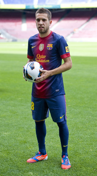 Jordi Alba Jordi Alba poses during his official presentation as the new signing for FC Barcelona at the Camp Nou Stadium on July 5, 2012 in Barcelona, Spain.