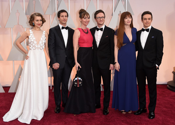 Arrivals at the 87th Annual Academy Awards — Part 3 [formal wear,suit,carpet,dress,event,tuxedo,gown,red carpet,fashion,flooring,arrivals,actors,akiva schaffer,liz cackowski,joanna newsom,andy samberg,jorma taccone,l-r,hollywood highland center,87th annual academy awards]