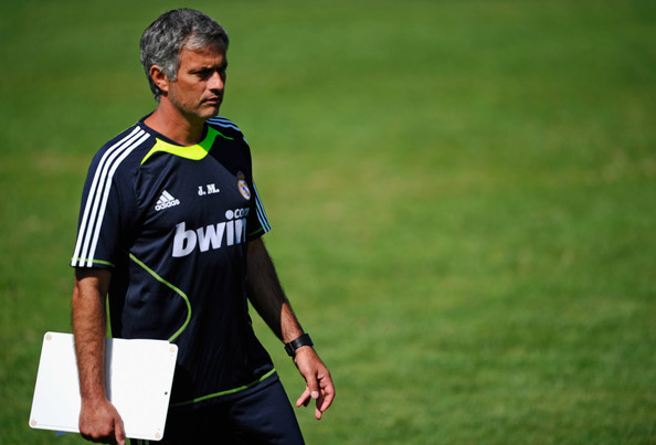Jose Mourinho Coach Jose Mourinho of Real Madrid looks at his team during training session on July 29, 2010 in Los Angeles, California. The team arrived on July 28, 2010, in Los Angeles to begin their pre-season training in the USA.