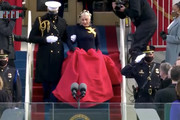 In this screengrab, Lady Gaga arrives to sing the National Anthem at the inauguration of U.S. President-elect Joe Biden on the West Front of the U.S. Capitol on January 20, 2021 in Washington, DC. After being sworn in Biden will deliver an inaugural address laying out his vision to defeat the pandemic, build back better, and unify and heal the nation.