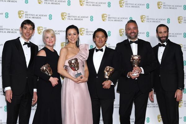 EE British Academy Film Awards - Press Room [documentary,award,event,award ceremony,formal wear,suit,tuxedo,ceremony,white-collar worker,joseph fiennes,winners,jimmy chin,evan hayes,elizabeth chai vasarhelyi,award,room,ee,british academy film awards]