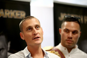 David Higgins of Duco Events speaks alongside Joseph Parker (R) during a press conference at Duco Events Office on November 8, 2017 in Auckland, New Zealand.