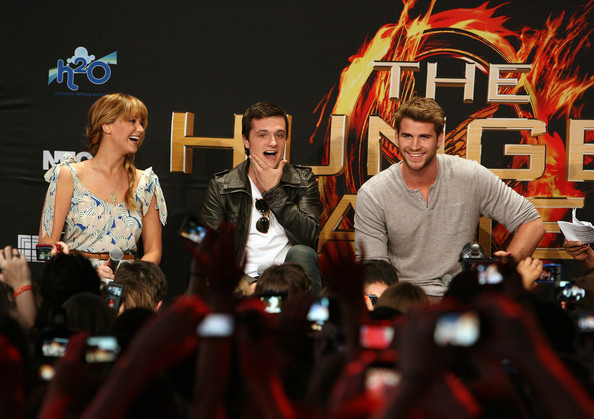 Josh Hutcherson Actors Jennifer Lawrence, Josh Hutcherson and Liam Hemsworth attend The Hunger Games U.S. Mall Tour Kick-Off at Westfield Century City on March 3, 2012 in Los Angeles, California.