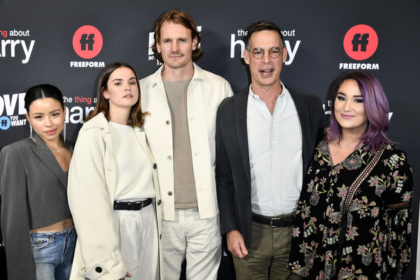 "Premiere Of Freeform's ""The Thing About Harry"" - Arrivals [the thing about harry,event,premiere,performance,fashion design,arrivals,president,tom ascheim,josh pence,maia mitchell,cierra ramirez,freeform,l-r,premiere,maia mitchell,cierra ramirez,emma hunton,television,the thing about harry,celebrity,photograph,livingly media,freeform]"