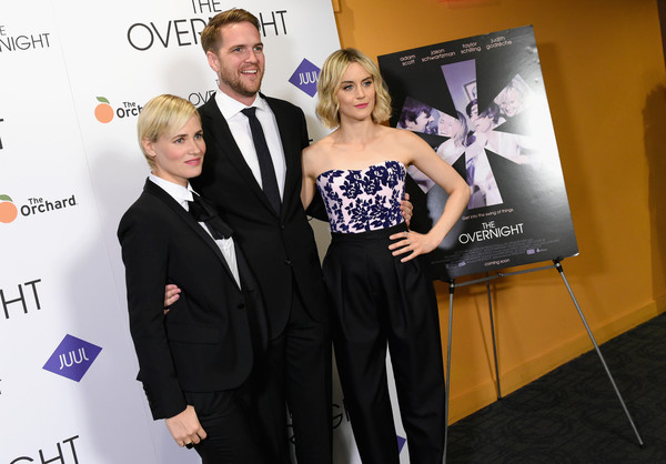 Celebrities Attend 'The Overnight' New York Premiere [suit,formal wear,carpet,event,premiere,fashion,tuxedo,dress,fun,award,celebrities,taylor schilling,patrick brice,judith godreche,l-r,new york,sunshine landmark,the overnight]